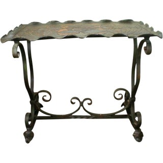 Early 20th Century Arts and Crafts Wrought Iron Tray Table For Sale