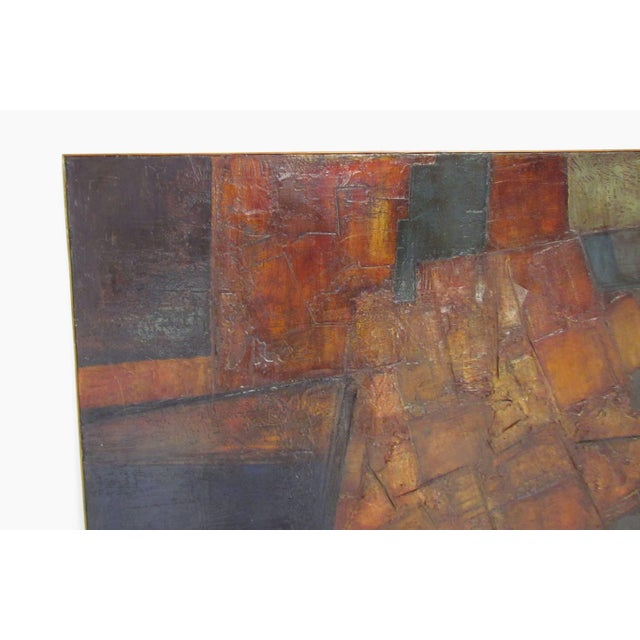 Mid-Century Modern Brutalist Abstract Modernist Painting by Berkshire Artist John Stritch, 1963 For Sale - Image 3 of 10