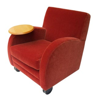 Modern Mohair Chair & Swivel Side Table For Sale