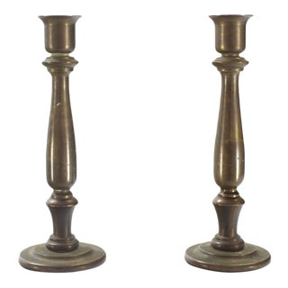Very Heavy Solid Bronze Turned Candlesticks Holders For Sale