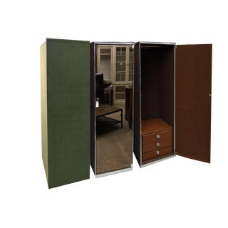 1970's I4 Mariani for Pace Collection and Hermès Mirrored Wardrobe Cabinets - 3 Pc.