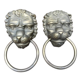 Brass Lion Head Door Knockers - A Pair For Sale