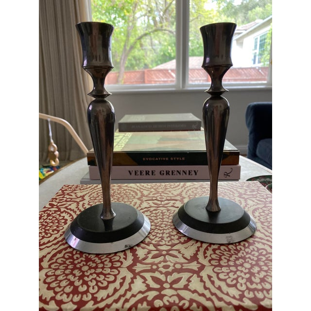 Mid-Century Metal and Stone Candlesticks - a Pair For Sale - Image 4 of 9