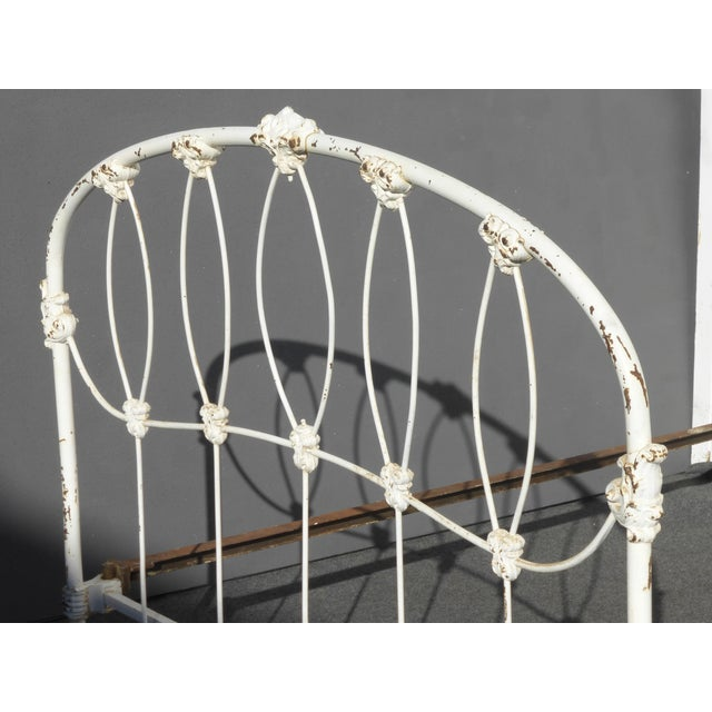 Antique French Country Full Iron Bed Frame Farmhouse Chic Headboard - Image 9 of 11