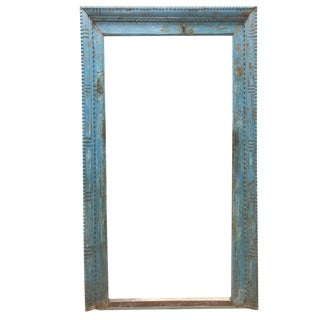 Antique Blue Rustic Tall Floor Mirror Haveli Door Frame Wall Mirror Farmhouse For Sale