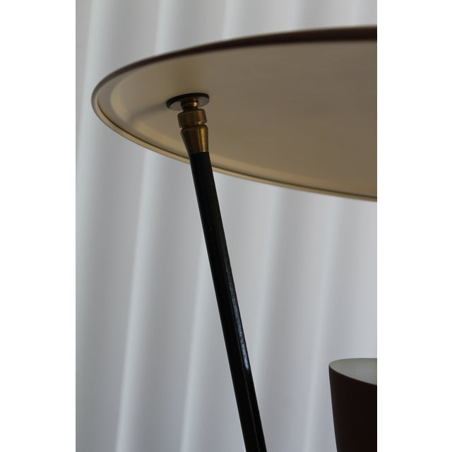 Metal 1950s Burgundy and Gold Saucer Reflector Lamp For Sale - Image 7 of 9