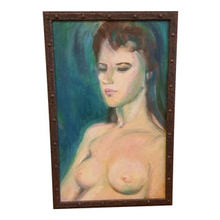 Mid-Century Nude Female Study Oil Painting For Sale