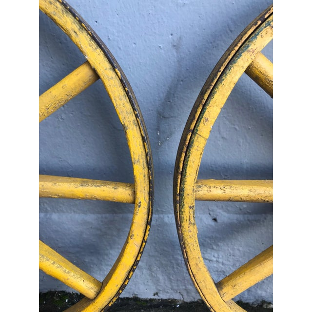 1900 - 1909 Folk Art Painted Wagon Wheels - a Pair For Sale - Image 5 of 7
