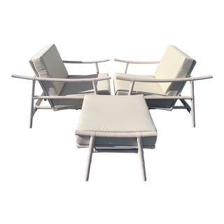 Mid Century Modern Style Rattan Chairs and Ottoman Set- 3 Pieces For Sale