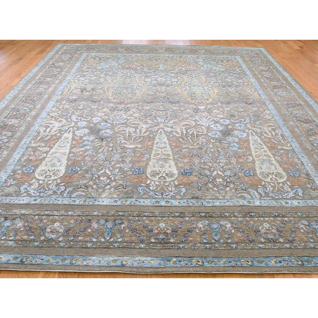 Shahbanu Rugs Cypress Tree Silk With Oxidized Wool Hand-Knotted Rug- 9′1″ × 12′ For Sale - Image 4 of 13