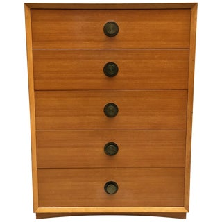 American Moderne Tall Blonde Dresser For Sale