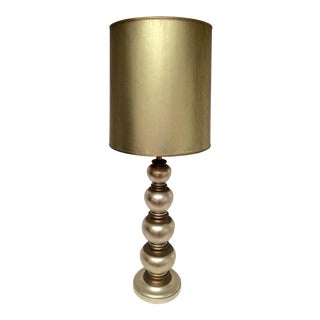 Frederick Cooper Silver and Gold Leaf Tall Stacked Ball Table Lamp For Sale