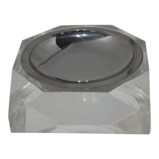 Octagonal Lucite & Stainless Steel Candy or Nut Dish Bowl For Sale