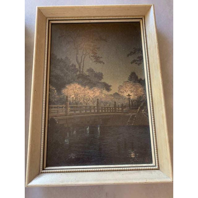 1950s Japanese Woodblock Framed Reproduction Prints - a Pair For Sale - Image 5 of 13