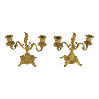 1970s Italian Brass Candelabras - a Pair For Sale