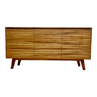 Mid Century Modern Style Solid Wood Credenza For Sale