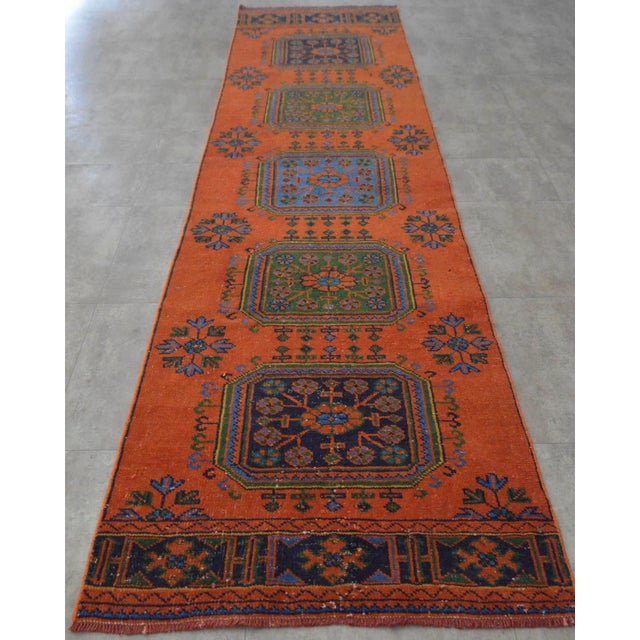 "Distressed Oushak Rug Runner - 3'1"" x 11'4"" - Image 4 of 10"