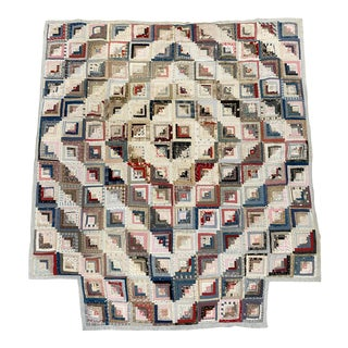 19th Century American Log Cabin Counterpane Quilt For Sale