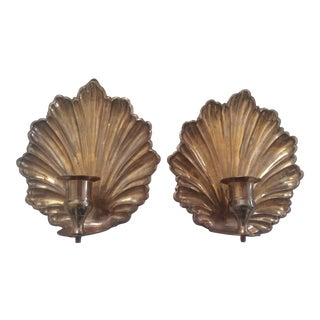 Mid Century Brass Seashell Wall Sconces - a Pair For Sale