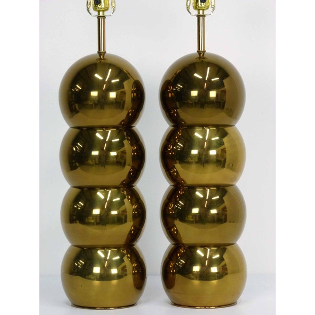 Mid-Century Modern George Kovacs Brass Stacked Ball Lamps - A Pair For Sale - Image 3 of 7