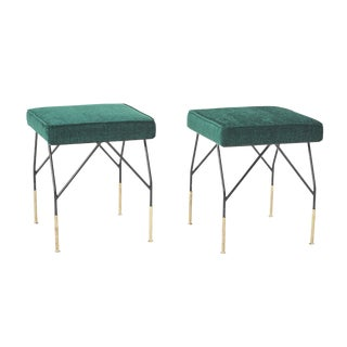 Vintage Mid-Century Brass Detailing Benches- a Pair For Sale