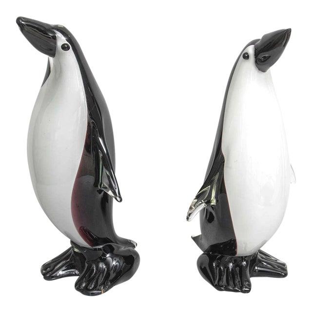 """Large Pair of """"Cristalleria Stile D'Arte"""" Artisan Glass Penguins For Sale"""