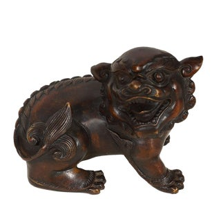 Early 20th Century Antique Chinese Bronze Foo Dog Statue For Sale