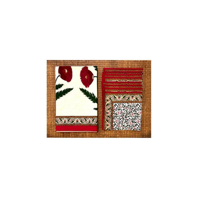 "Brigitte Singh Poppy hand block printed tablecloth and napkin set. Set Includes rectangular tablecloth (70"" x 96.5"") and..."