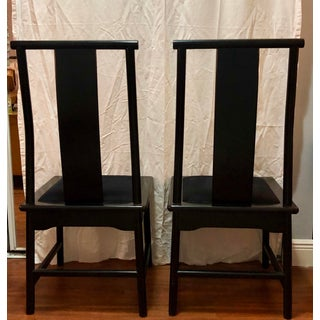 1980s Vintage Chinese Asian Black Lacquer Dining Side Chairs- A Pair Preview