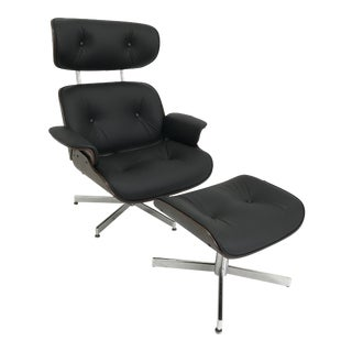 Mid Century Leather Lounge Chair and Ottoman by Plycraft For Sale