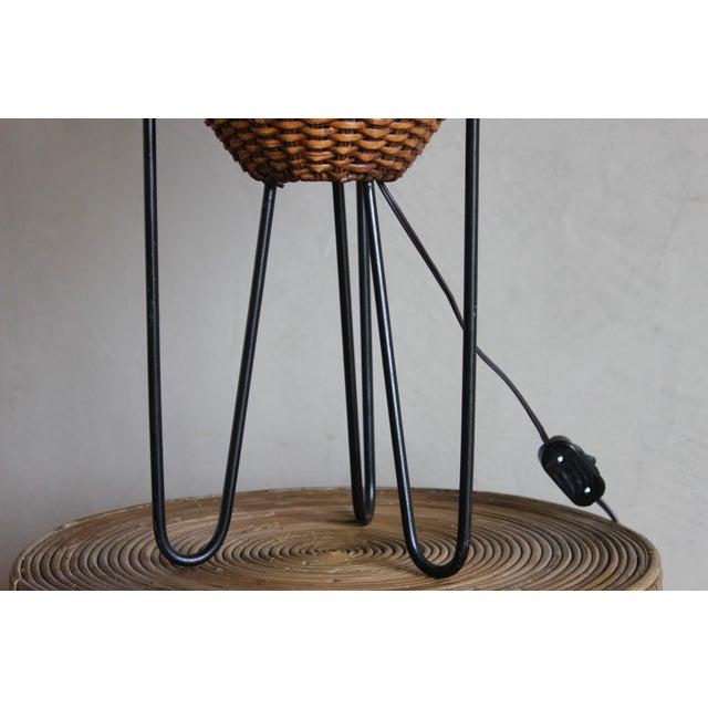 Paul Mayen Paul Mayen Mid-Century Rattan & Iron Hairpin Floor Lamp For Sale - Image 4 of 13
