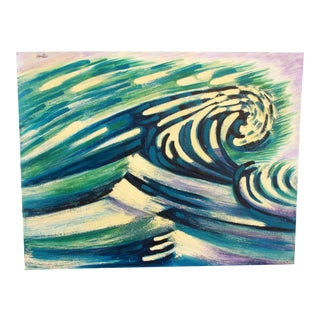 Mid Century Modernist Acrylic on Board Wave Painting by Doris M. Carter