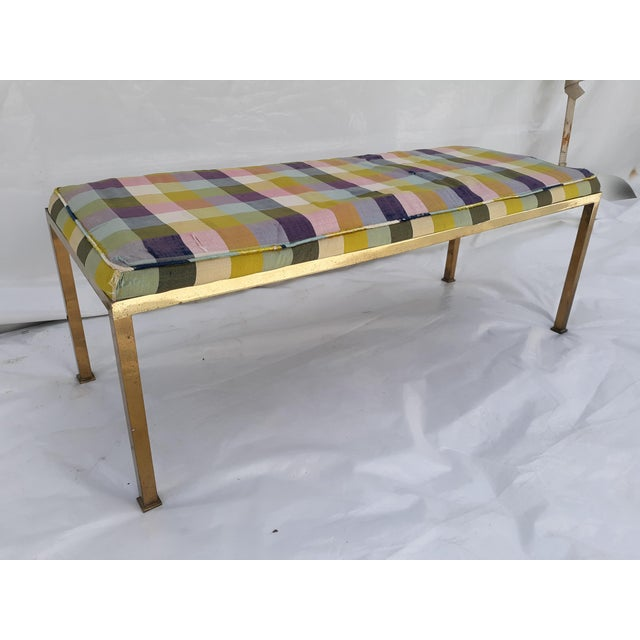 This is a high quality solid brass bench with the original silk fabric covering. It is 48 x 18 h x 18 w. The brass can be...