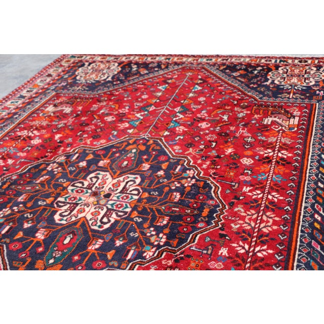 "1970's Persian Qashqai Area Rug-6'4'x9'4"" For Sale - Image 4 of 10"