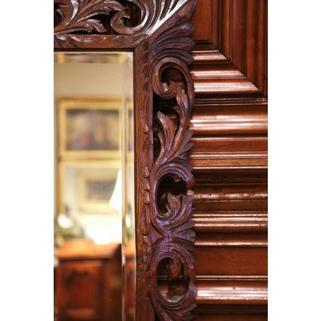 Wood 19th Century French Louis XIII Carved Oak Overlay Beveled Glass Wall Mirror For Sale - Image 7 of 9