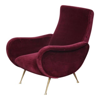 Pair of Vintage Italian Club Chairs Re-Upholstered in Burgundy Velvet For Sale