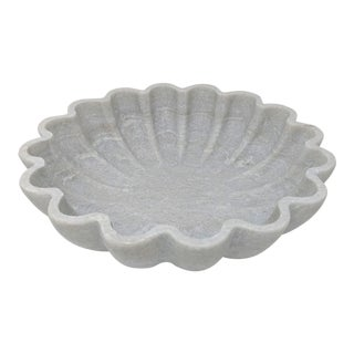 Solid Marble Bowl With Scalloped Edge For Sale