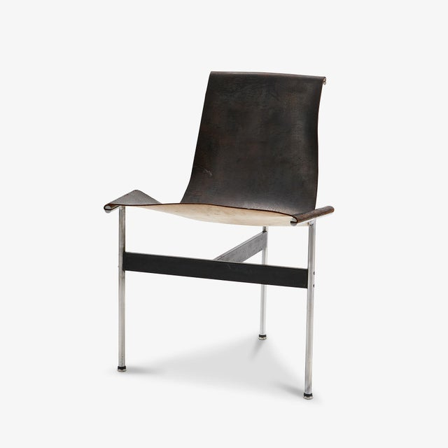 Mid 20th Century Mid Century Katavalos for Laverne International Steel & Leather 'T-Chair' For Sale - Image 5 of 5