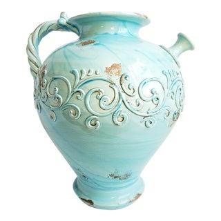 Large Glazed Turquoise Earthenware Italian Jug For Sale