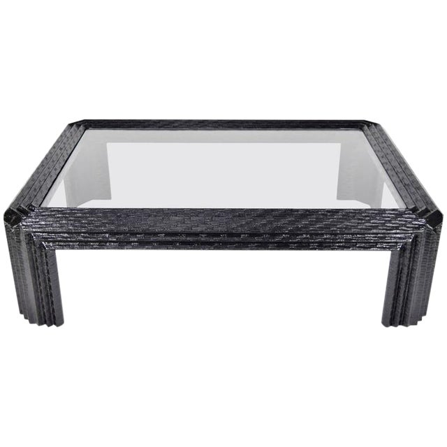 Lacquered Grasscloth Coffee Table by Baker - Image 1 of 9