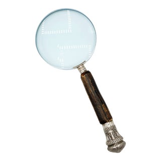 Early 20th Century Antique Silver & Genuine Stag Handle Magnifying Glass For Sale