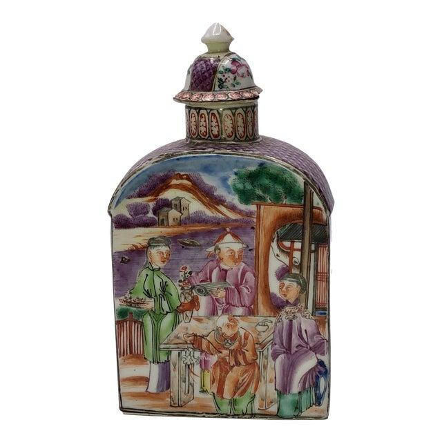 18th Century Mandarin Porcelain Tea Caddy For Sale
