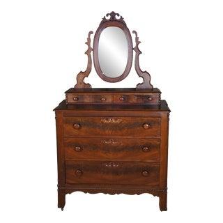 Antique Victorian Walnut Burl Dresser Chest With Mirror For Sale