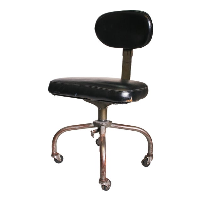 Vintage Industrial Swivel Office Chair with Black Upholstery For Sale