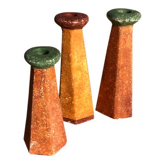 Clay // Terra-Cotta Painted Candlesticks - Set of Three For Sale