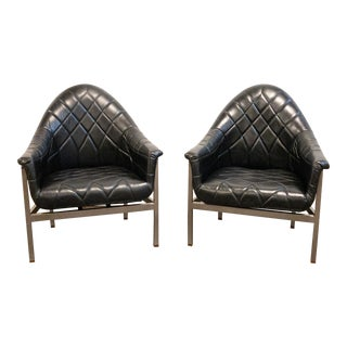 Vintage Milo Baughman for Thayer Coggin Modernist Black Leather Lounge Chairs - a Pair For Sale