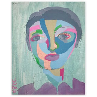 """Contemporary Abstract Portrait Painting """"What a Sweet Soul, No. 2"""" - Framed For Sale"""