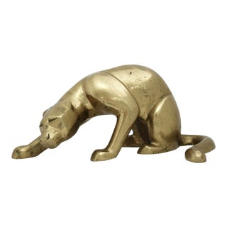 Late 20th Century Vintage Brass Panther Statue For Sale