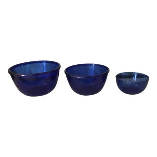 Vintage Cobalt Blue Mixing Bowls - Set of 3