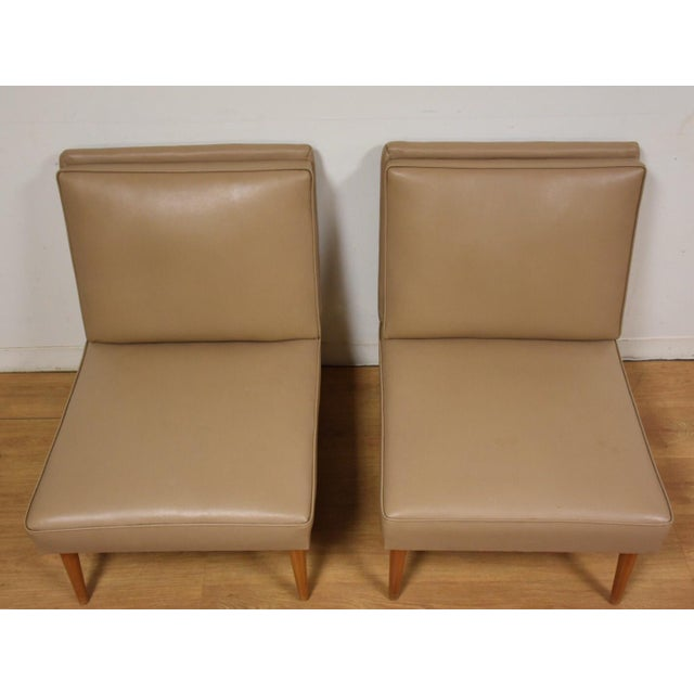 Mid-Century Modern Beige Slipper Lounge Chairs - A Pair For Sale - Image 4 of 9